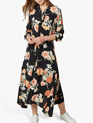 French Connection Floral Midi Shirt Dress, Black/Multi
