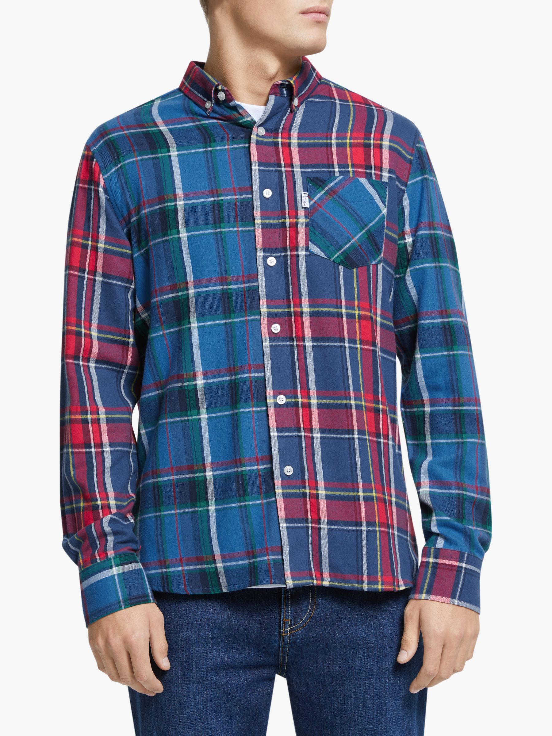 Penfield Penfield Barrhead Brushed Yarn Dyed Cotton Flannel Shirt, Blue Check