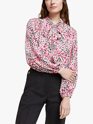 Somerset by Alice Temperley Orchid Animal Print Tie Neck Blouse, Pink/Multi