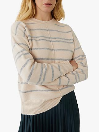 Warehouse Thick & Thin Stripe Jumper, Ecru