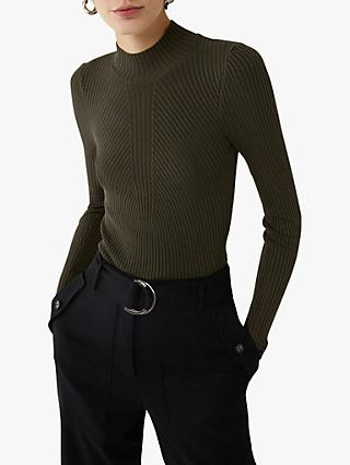 Warehouse Ribbed Funnel Neck Jumper