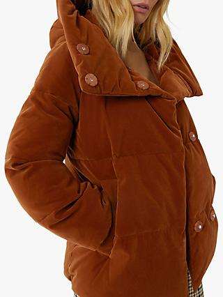 Warehouse Velvet Hooded Puffer Jacket, Tan