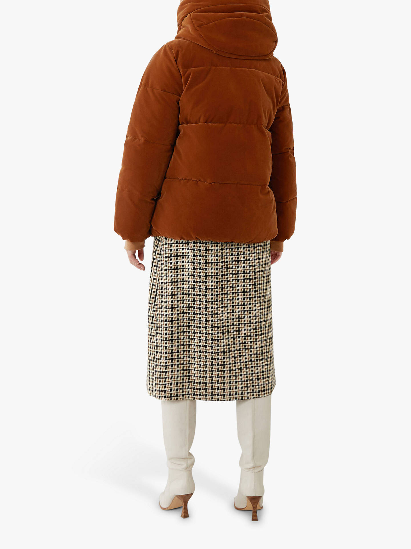 Buy Warehouse Velvet Hooded Puffer Jacket, Tan, 6 Online at johnlewis.com