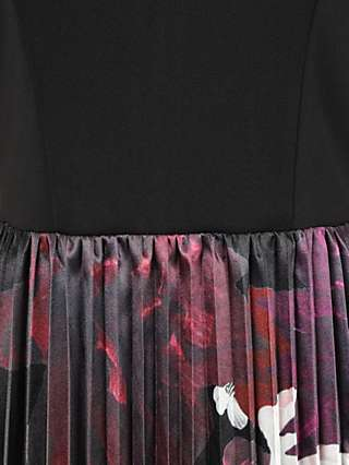 Chi Chi London Arden Bardot Pleated Floral Dress, Black/Multi