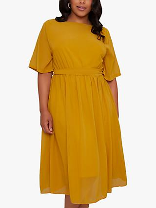 Chi Chi London Curve Amanya Midi Dress, Mustard