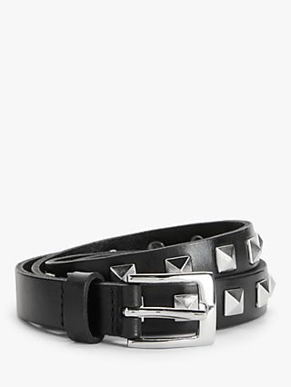 John Lewis & Partners Nicole Studded Leather Jeans Belt, Black