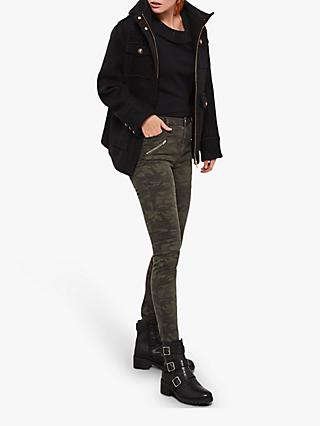 Mint Velvet Utility Hooded Coat, Black