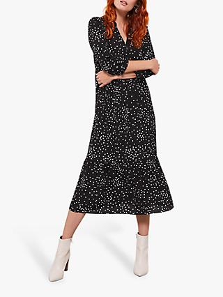 Mint Velvet Spot V-Neck Midi Dress, Multi