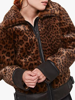 Mint Velvet Leopard Print Faux Fur Jacket, Multi