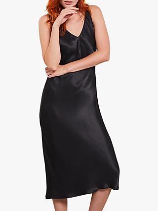 Mint Velvet Satin Slip Midi Dress, Black