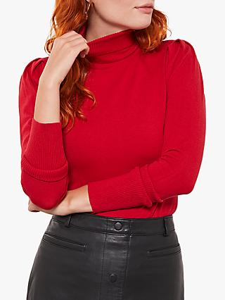 Mint Velvet Cotton Blend Puffed Sleeve Jumper, Red