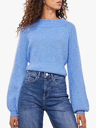 Mint Velvet Chunky Boat Neck Jumper, Blue