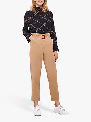 Mint Velvet Belted Paperbag Trousers, Camel