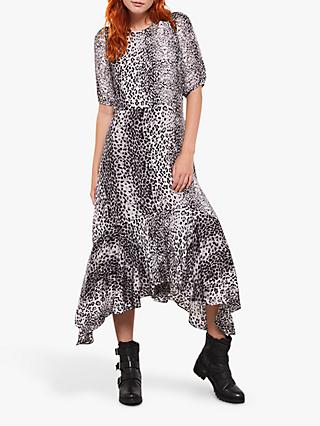 Mint Velvet Animal Print Puff Sleeve Hanky Hem Dress, Multi
