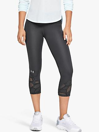 Under Armour Fly Fast Rising Thread Cropped Running Tights, Grey