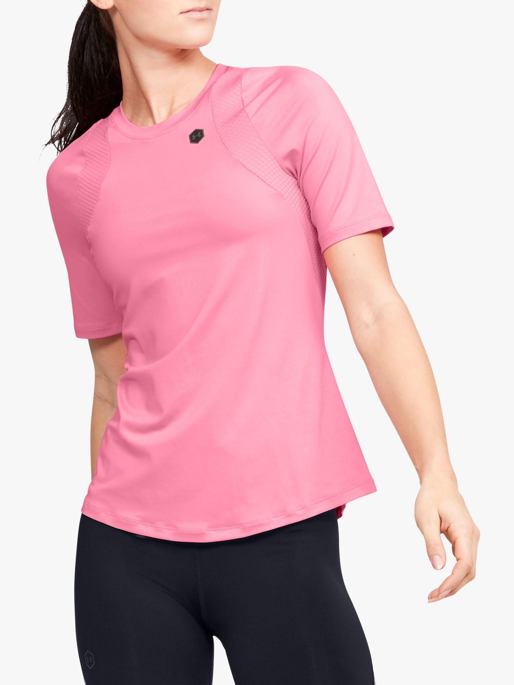 Under Armour Under Armour Rush Short Sleeve Training Top, Lipstick/Black