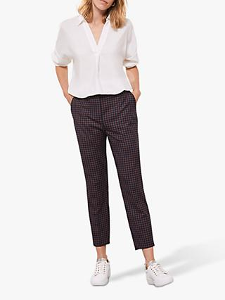 Mint Velvet Check Tapered Trousers, Multi