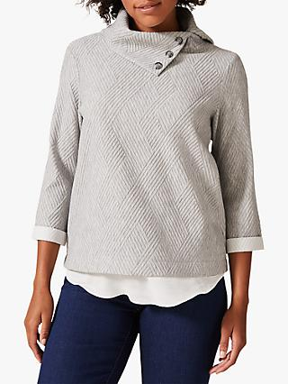 Phase Eight Mica Button Roll Neck Jacquard Top, Grey