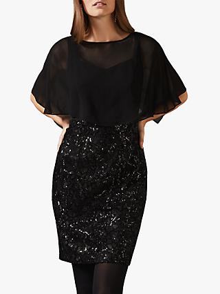 Phase Eight Macy Sequin Skirt Dress, Black