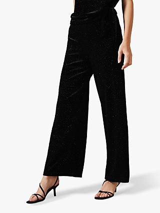 Phase Eight Sissy Velvet Glitter Wide Leg Trousers, Black