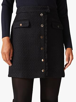 Phase Eight Tweed Button Skirt, Navy