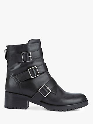 Mint Velvet Abigail Leather Biker Boots, Black