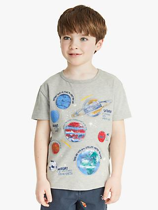 John Lewis & Partners Boys' Planet T-Shirt, Grey