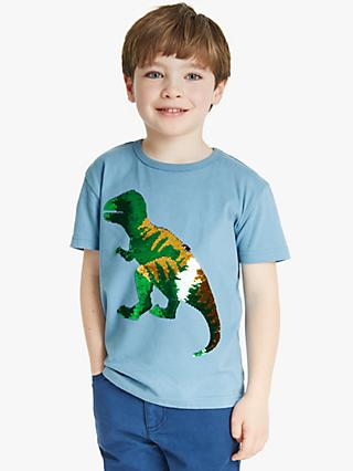 John Lewis & Partners Boys' Reversible Sequin Dinosaur Top, Blue