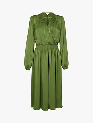 Ghost Juliette Satin Dress, Forest Green