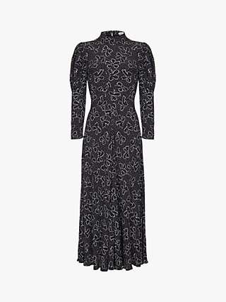 Ghost Lea Satin Dress, Velvet Bow