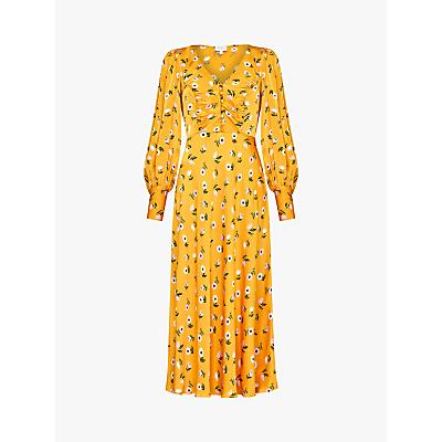 Ghost Noa Floral Print Maxi Dress, Orange