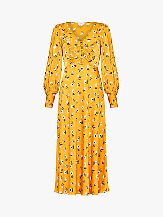 Ghost Noa Floral Print Maxi Dress, Orange