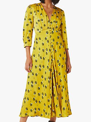 Ghost Madison Satin Fan Scatter Floral Dress, Yellow