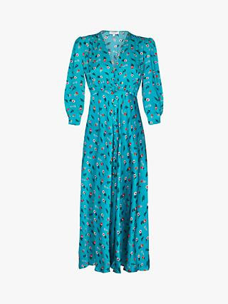 Ghost Madison Satin Florence Folk Floral Dress, Turquoise