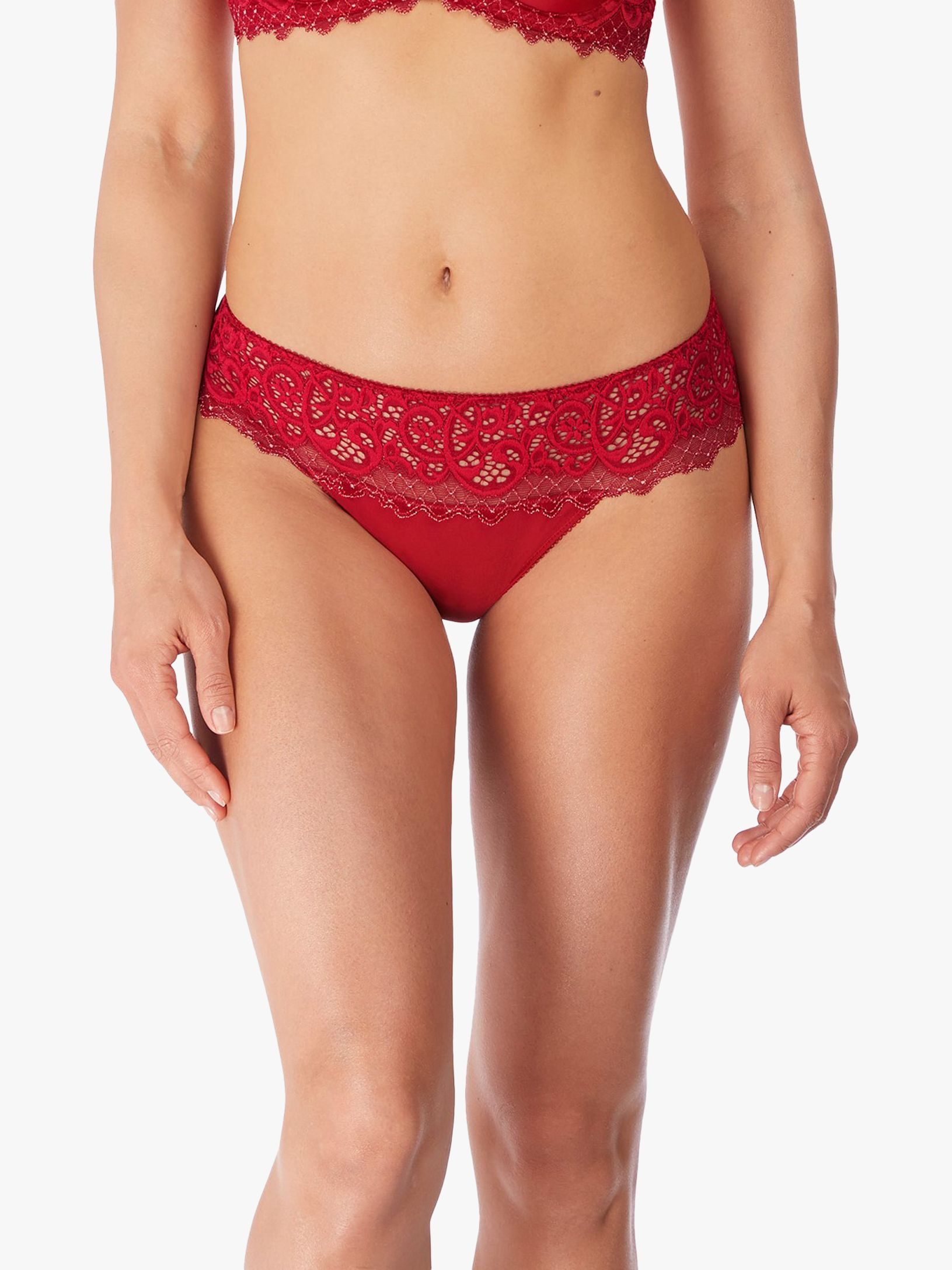Wacoal Wacoal Lace Essential Tanga Briefs, Red