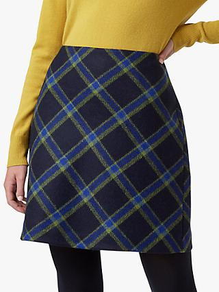 Hobbs Elea Check Wool Mini Skirt, Navy/Green