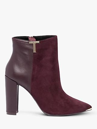 Ted Baker Inala Leather Suede Point Toe Ankle Boots, Bordeaux