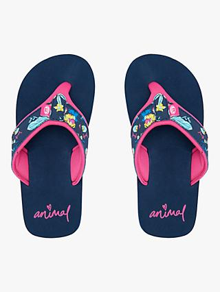 Animal Children's Swish Upper AOP Flip Flops, Indigo Blue