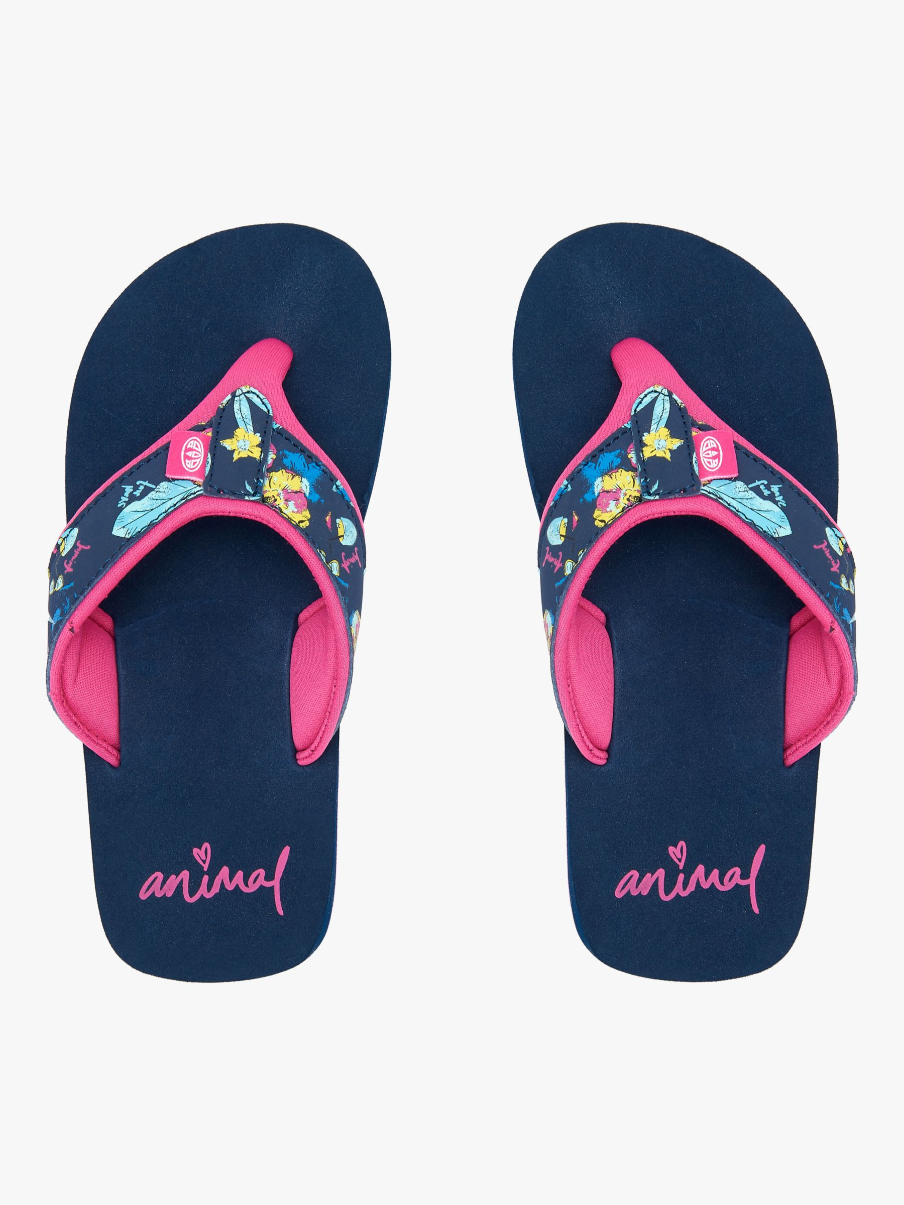 Animal Animal Children's Swish Upper AOP Flip Flops, Indigo Blue