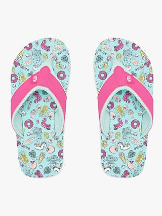 Animal Children's Swish AOP Flip Flops, Misty Green