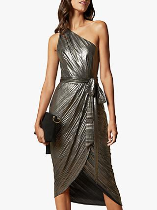 Ted Baker Gabria Asymmetric Draped Midi Dress, Gold