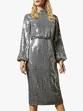 Ted Baker Ophilla Long Sleeve Sequin Mini Dress, Gunmetal