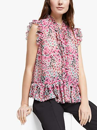 Somerset by Alice Temperley Floral Animal Print Frill Detail Sleeveless Blouse, Pink/Multi