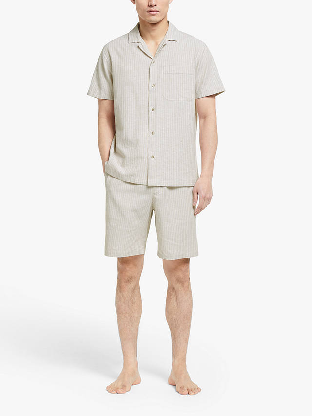Buy John Lewis & Partners Linen Cotton Short Sleeve Pyjama Set, Natural, L Online at johnlewis.com