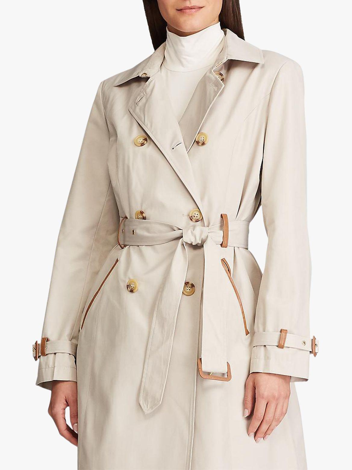Ralph Lauren Lauren Ralph Lauren Faux Leather Trim Trench Coat, Tone Cream