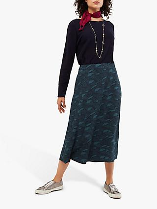 White Stuff Under The Waves Midi Skirt, Navy