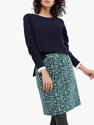 White Stuff Clocktower High Tide A-Line Skirt, Sea Blue