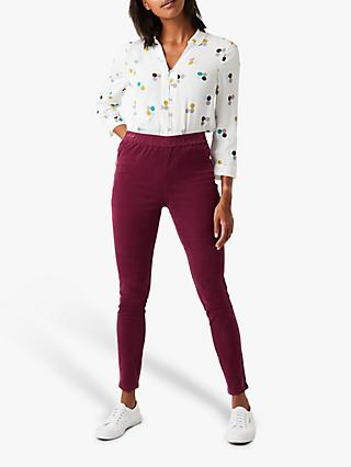 White Stuff Cord Jeggings, Rosy Plum Plain