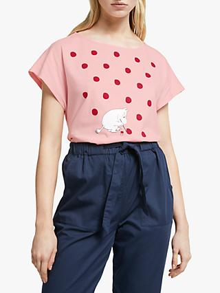 People Tree Moomin Dot Organic Cotton T-Shirt, Pink