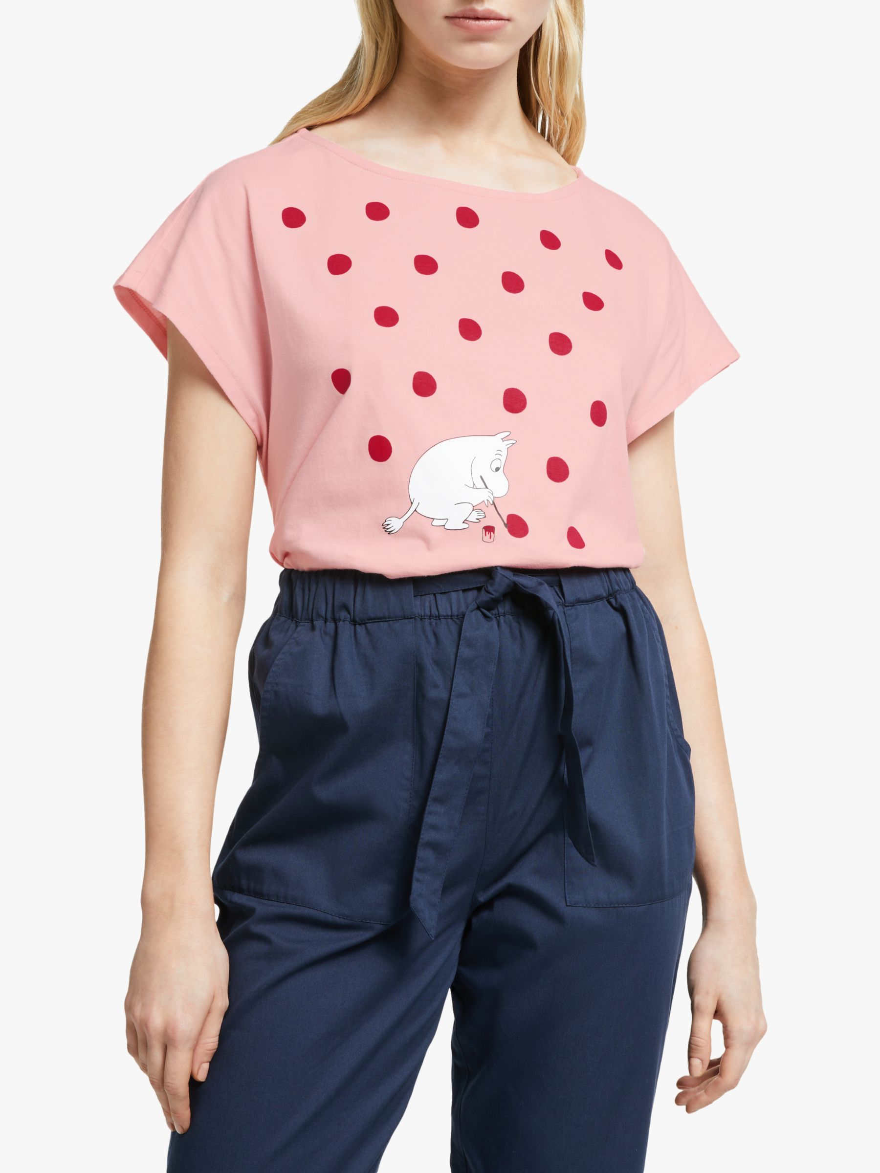 People Tree People Tree Moomin Dot Organic Cotton T-Shirt, Pink